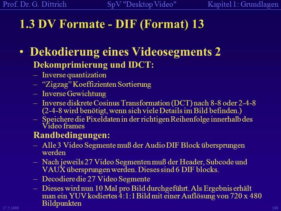 1.3 DV Formate - DIF (Format) 13