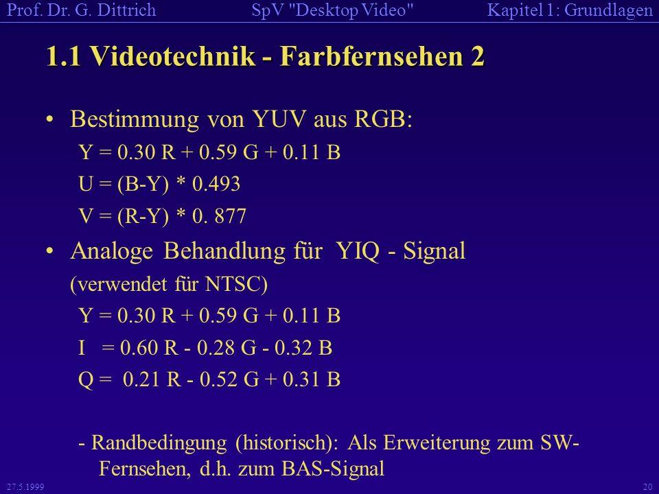 1.1 Videotechnik - Farbfernsehen 2