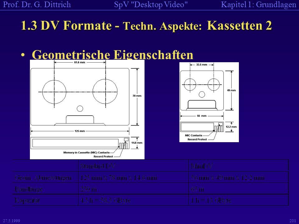 1.3 DV Formate - Techn. Aspekte: Kassetten 2