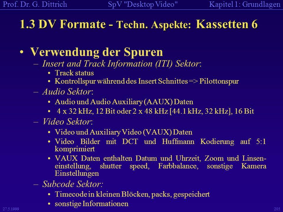 1.3 DV Formate - Techn. Aspekte: Kassetten 6