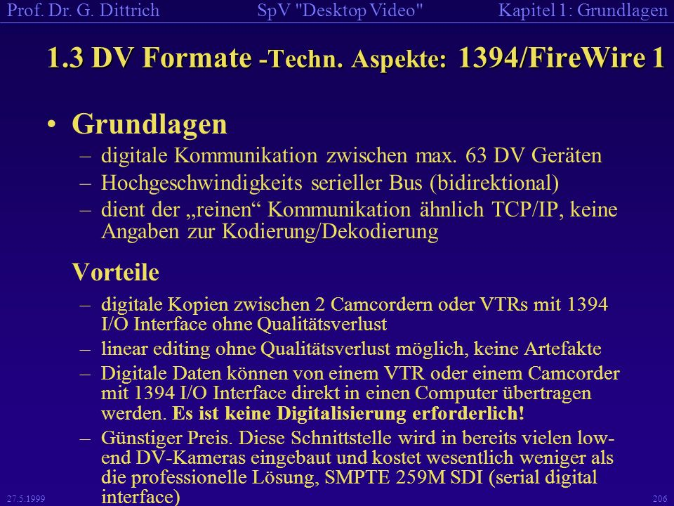 1.3 DV Formate -Techn. Aspekte: 1394/FireWire 1