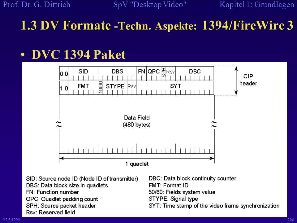 1.3 DV Formate -Techn. Aspekte: 1394/FireWire 3