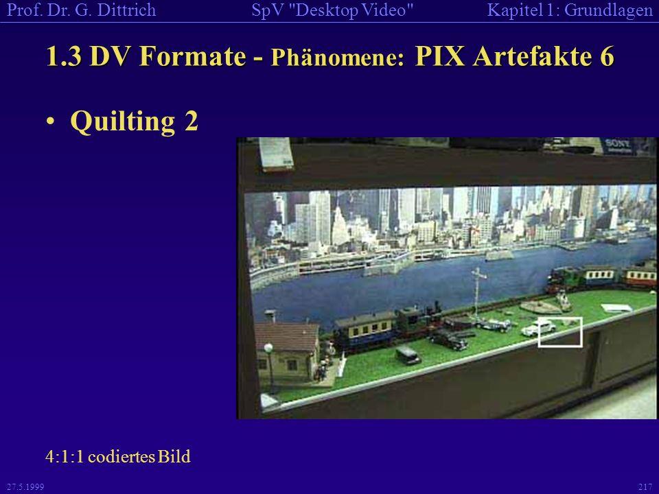 1.3 DV Formate - Phänomene: PIX Artefakte 6