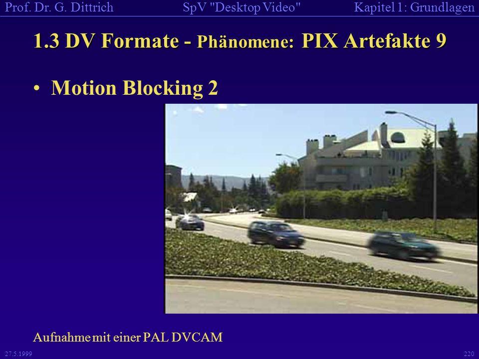 1.3 DV Formate - Phänomene: PIX Artefakte 9
