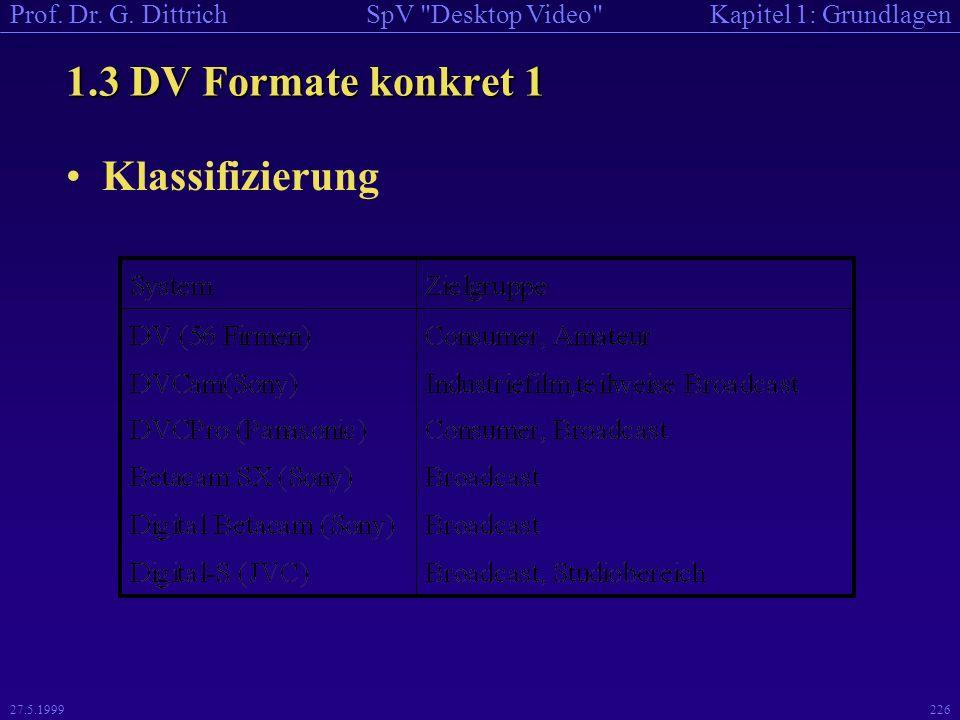 1.3 DV Formate konkret 1 Klassifizierung 27.5.1999