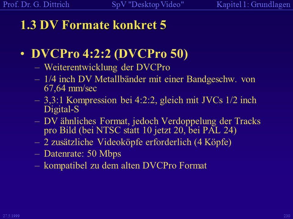 1.3 DV Formate konkret 5 DVCPro 4:2:2 (DVCPro 50)