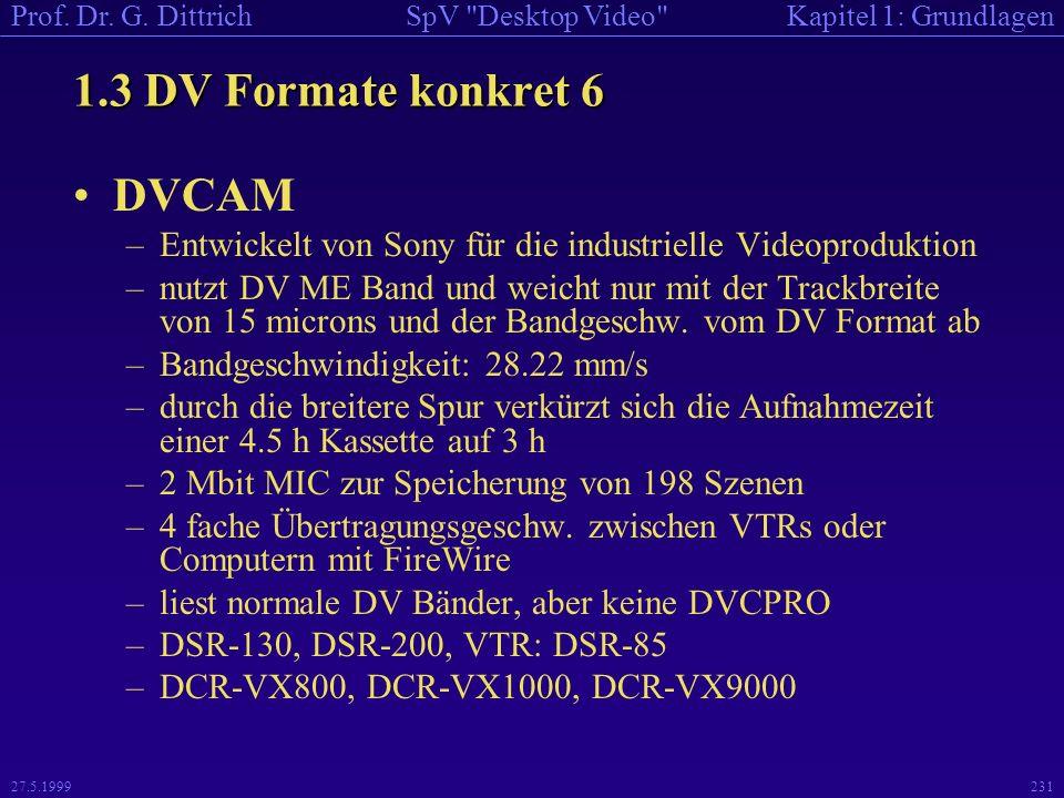 1.3 DV Formate konkret 6 DVCAM