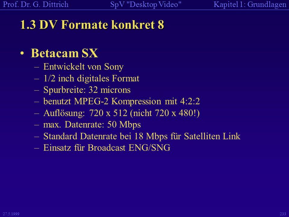 1.3 DV Formate konkret 8 Betacam SX Entwickelt von Sony