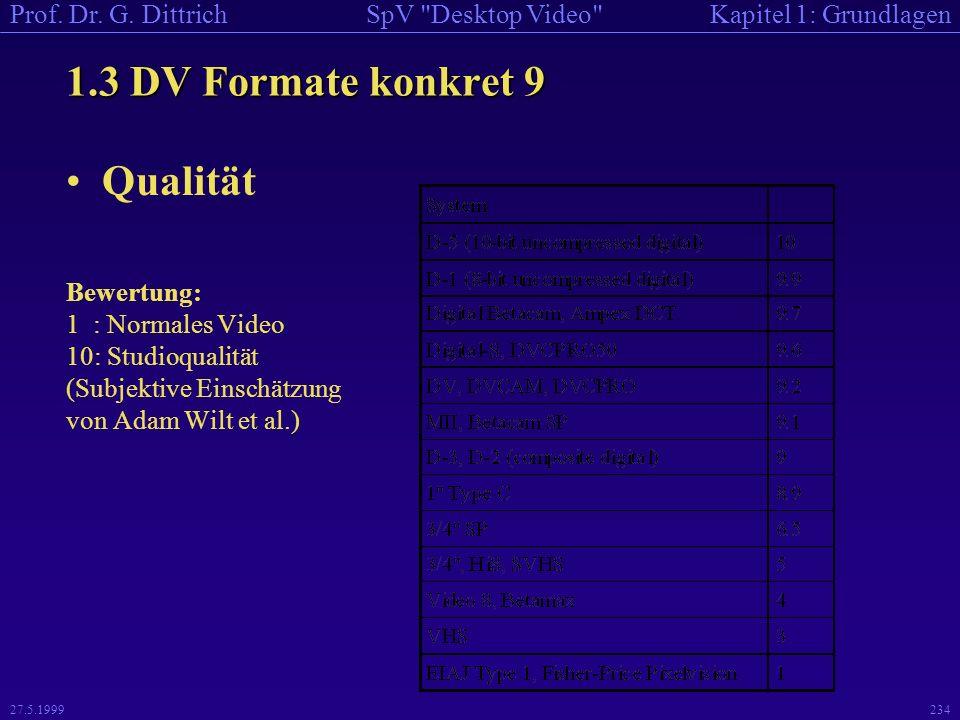 1.3 DV Formate konkret 9 Qualität Bewertung: 1 : Normales Video