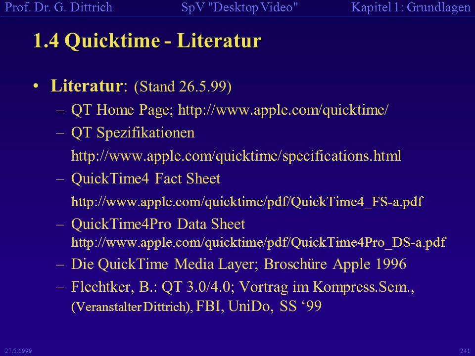 1.4 Quicktime - Literatur Literatur: (Stand 26.5.99)
