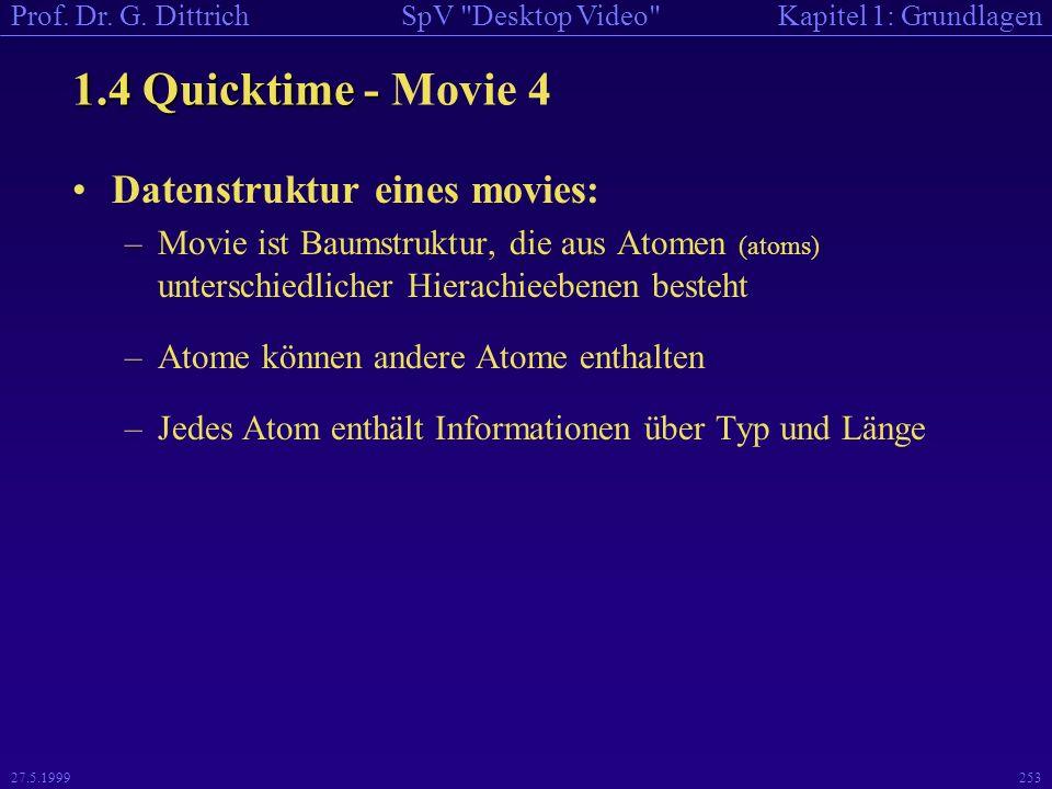 1.4 Quicktime - Movie 4 Datenstruktur eines movies: