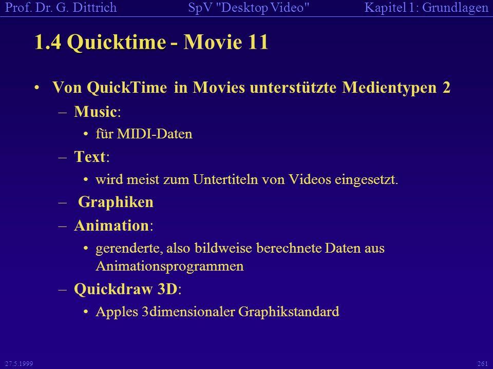 1.4 Quicktime - Movie 11 Von QuickTime in Movies unterstützte Medientypen 2. Music: für MIDI-Daten.