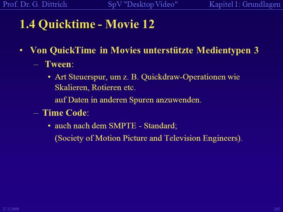 1.4 Quicktime - Movie 12 Von QuickTime in Movies unterstützte Medientypen 3. Tween: