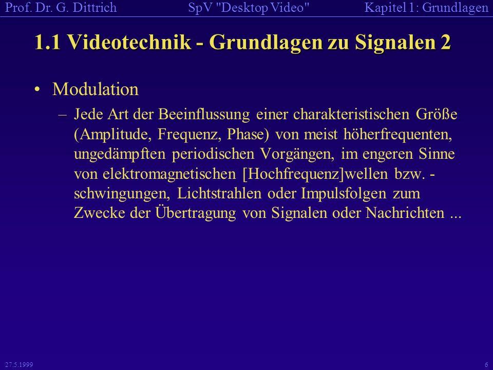 1.1 Videotechnik - Grundlagen zu Signalen 2