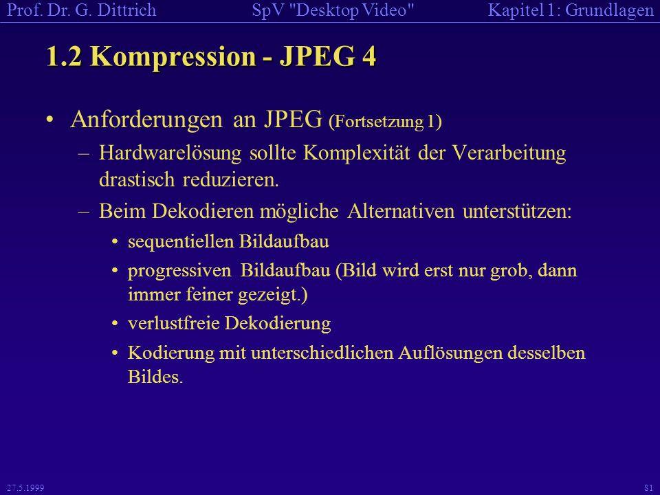 1.2 Kompression - JPEG 4 Anforderungen an JPEG (Fortsetzung 1)