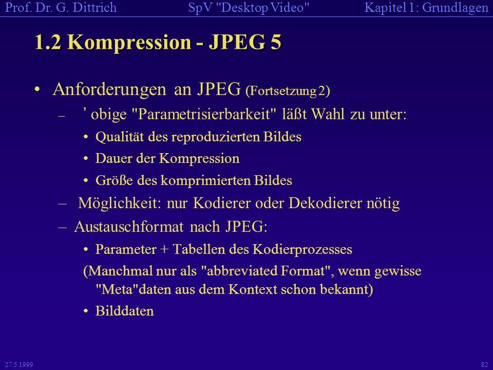 1.2 Kompression - JPEG 5 Anforderungen an JPEG (Fortsetzung 2)