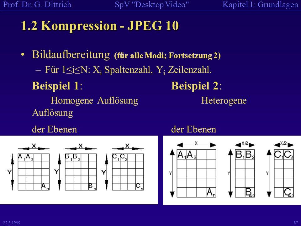 1.2 Kompression - JPEG 10 Bildaufbereitung (für alle Modi; Fortsetzung 2) Für 1≤i≤N: Xi Spaltenzahl, Yi Zeilenzahl.