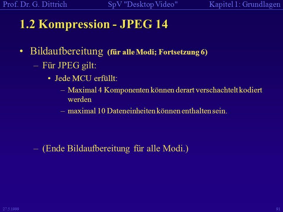 1.2 Kompression - JPEG 14 Bildaufbereitung (für alle Modi; Fortsetzung 6) Für JPEG gilt: Jede MCU erfüllt:
