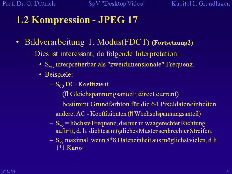 1.2 Kompression - JPEG 17 Bildverarbeitung 1. Modus(FDCT) (Fortsetzung2) Dies ist interessant, da folgende Interpretation: