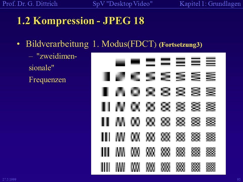 1.2 Kompression - JPEG 18 Bildverarbeitung 1. Modus(FDCT) (Fortsetzung3) zweidimen- sionale Frequenzen.