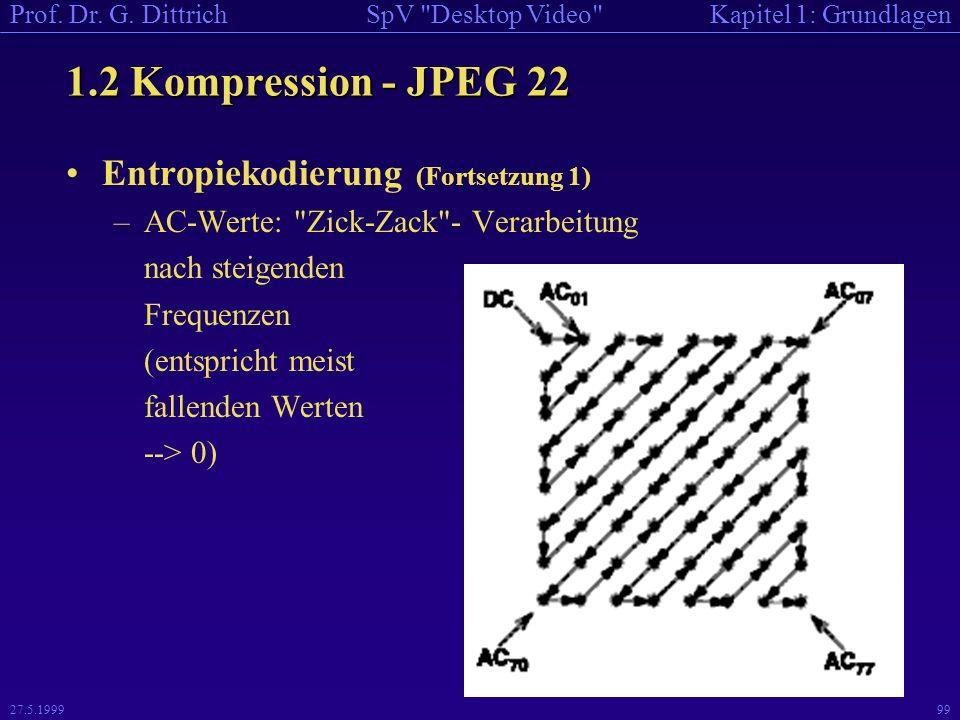 1.2 Kompression - JPEG 22 Entropiekodierung (Fortsetzung 1)