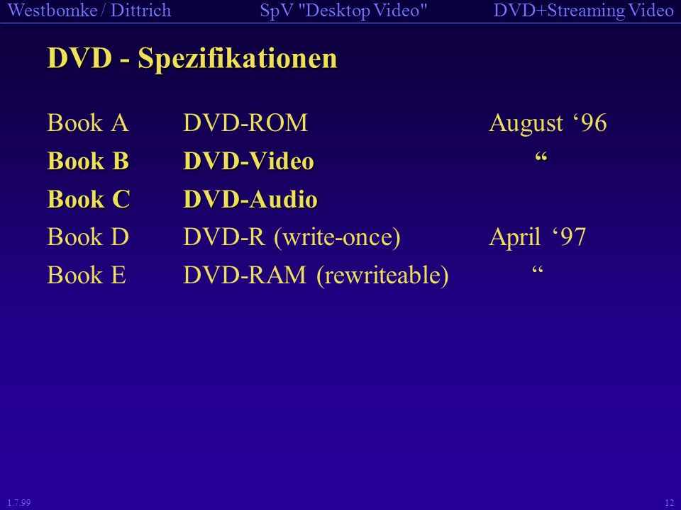 DVD - Spezifikationen Book A DVD-ROM August '96 Book B DVD-Video