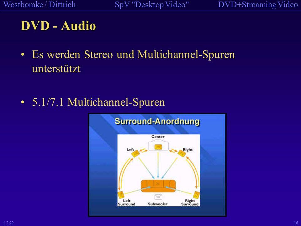 DVD - Audio Es werden Stereo und Multichannel-Spuren unterstützt