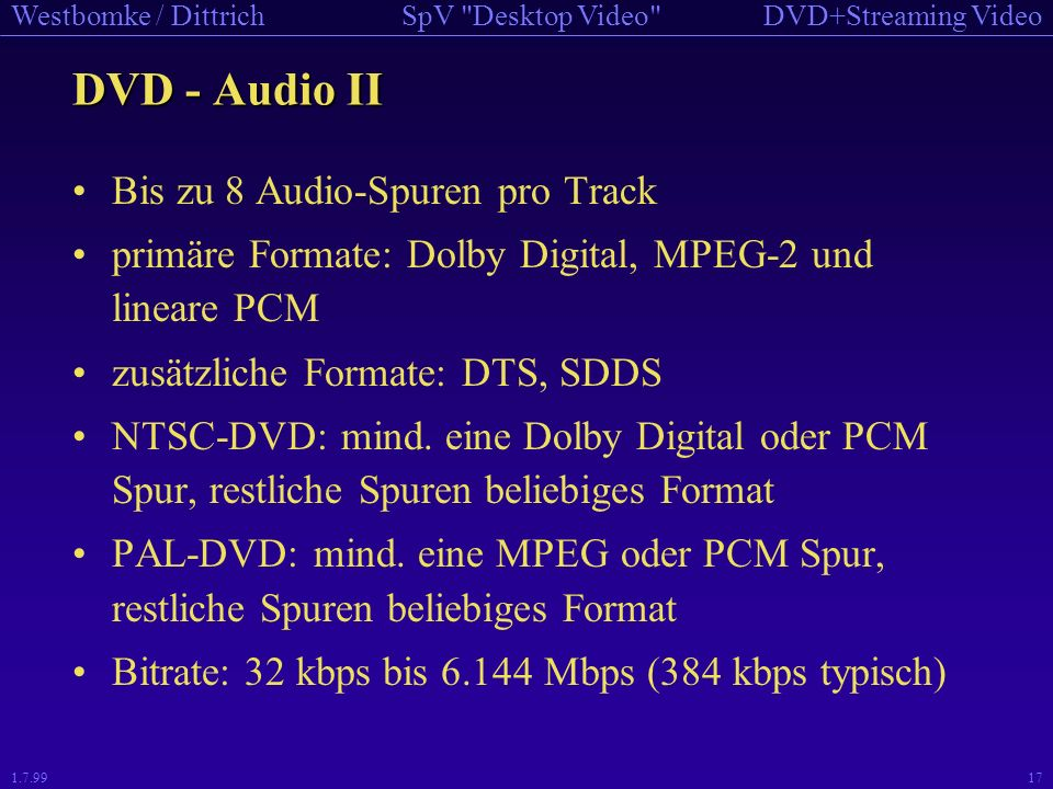 DVD - Audio II Bis zu 8 Audio-Spuren pro Track