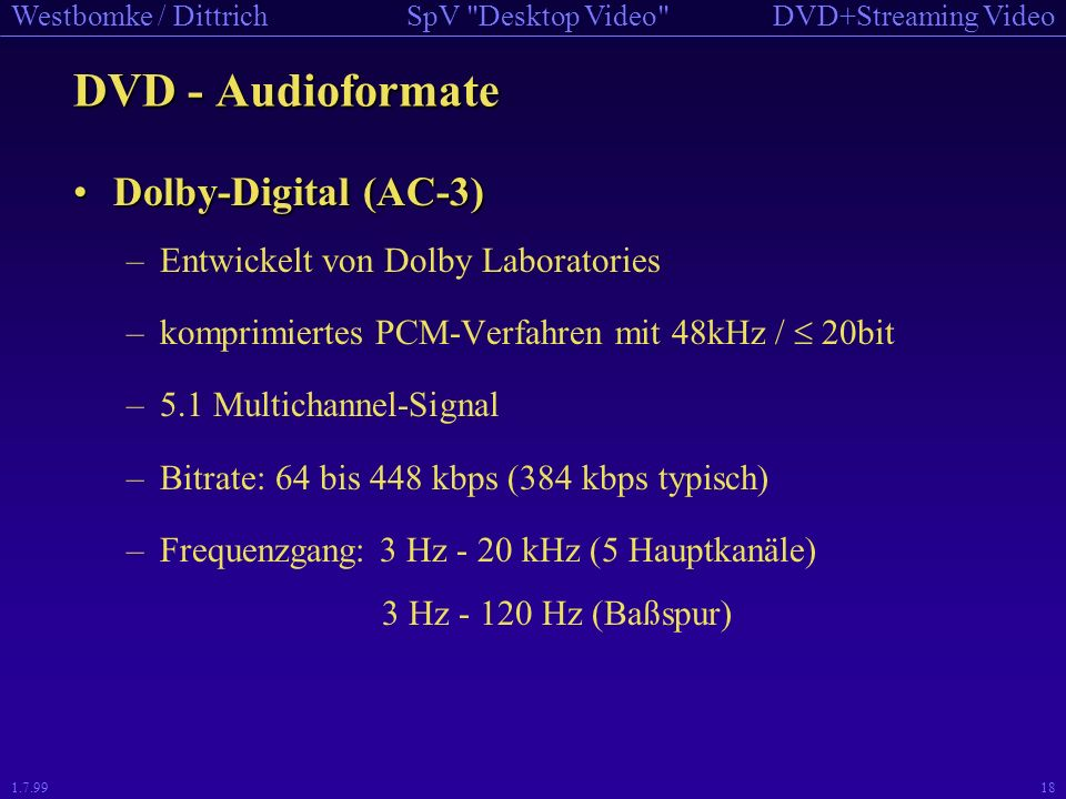 DVD - Audioformate Dolby-Digital (AC-3)