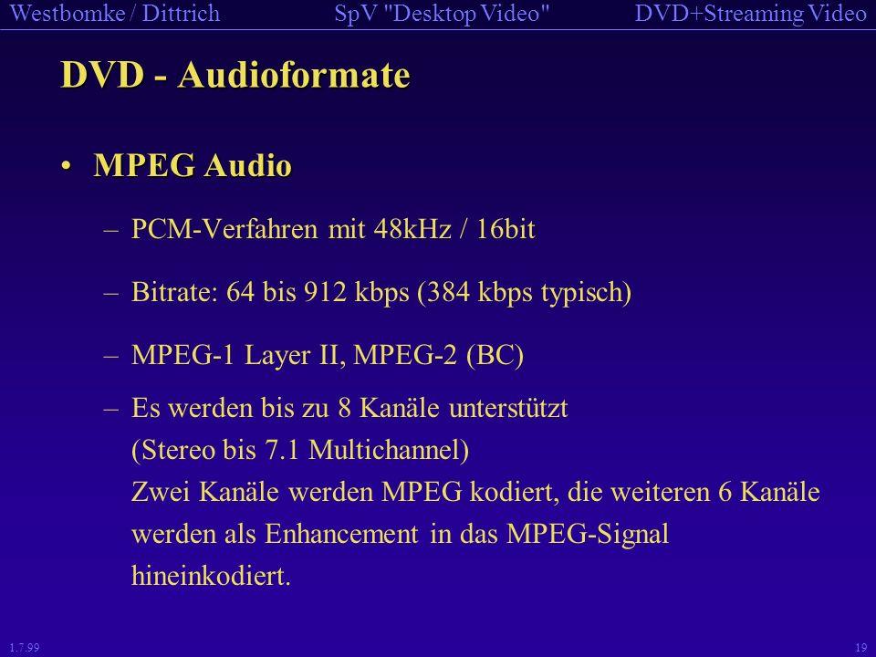 DVD - Audioformate MPEG Audio PCM-Verfahren mit 48kHz / 16bit