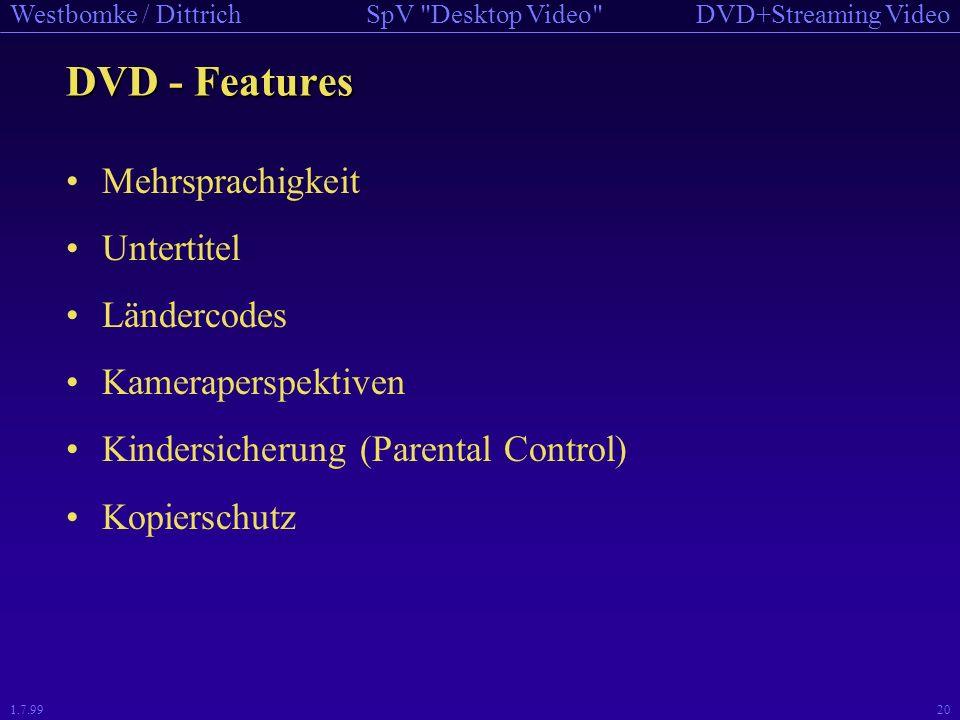 DVD - Features Mehrsprachigkeit Untertitel Ländercodes