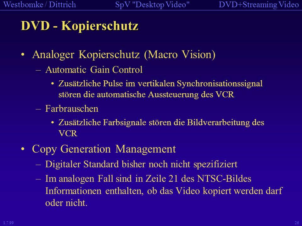 DVD - Kopierschutz Analoger Kopierschutz (Macro Vision)