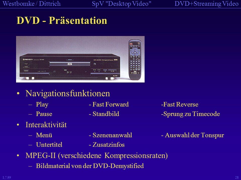 DVD - Präsentation Navigationsfunktionen Interaktivität