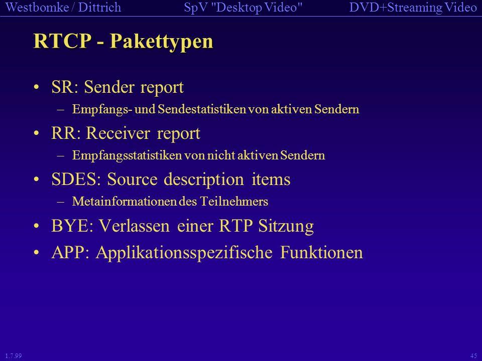 RTCP - Pakettypen SR: Sender report RR: Receiver report