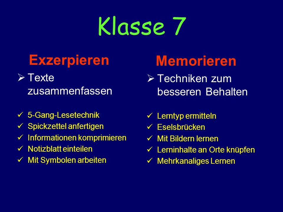 Klasse 7 Exzerpieren Memorieren Texte zusammenfassen