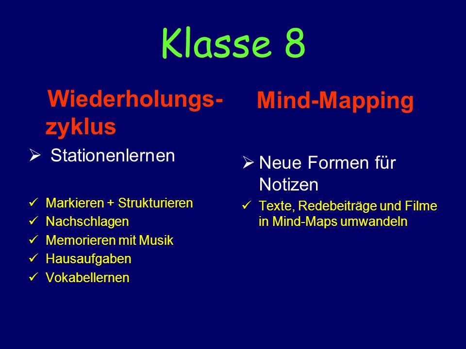 Klasse 8 Wiederholungs-zyklus Mind-Mapping Stationenlernen