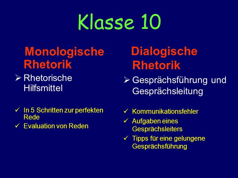 Klasse 10 Monologische Rhetorik Dialogische Rhetorik