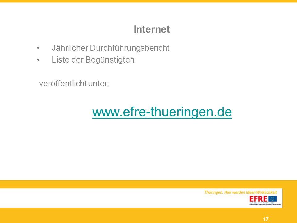 www.efre-thueringen.de Internet Jährlicher Durchführungsbericht