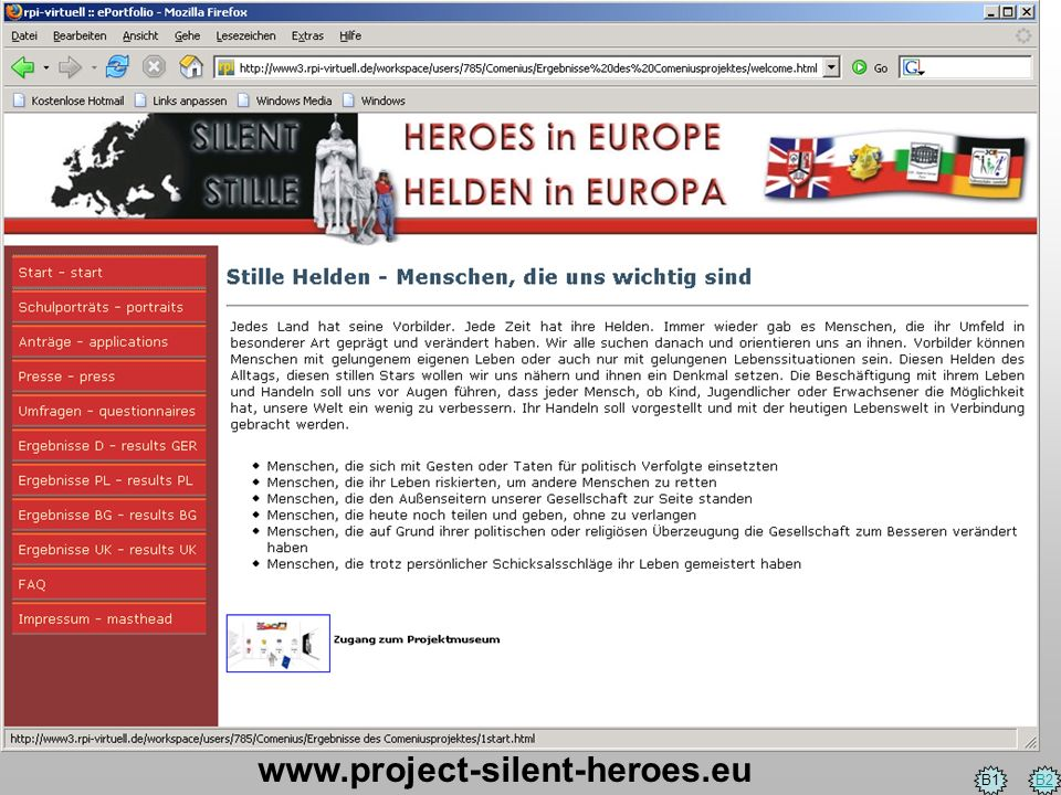 www.project-silent-heroes.eu B1 B2
