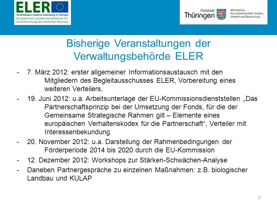 Bisherige Veranstaltungen der Verwaltungsbehörde ELER