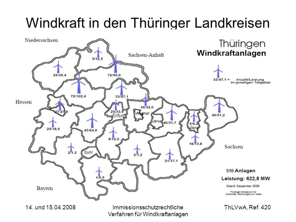 Windkraft in den Thüringer Landkreisen