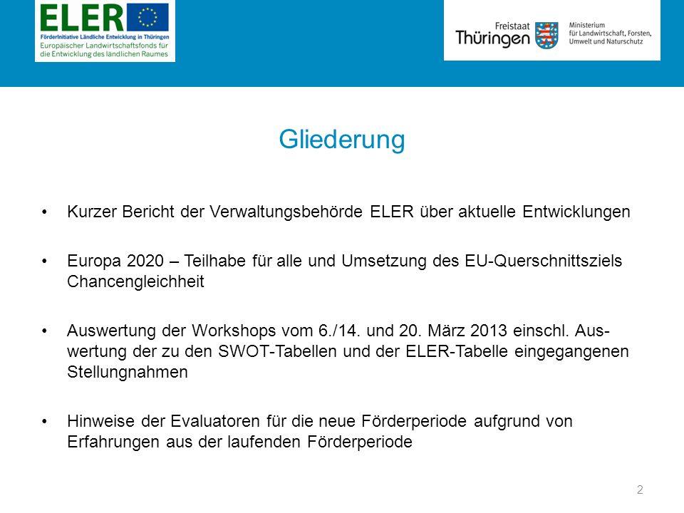 Gliederung Kurzer Bericht der Verwaltungsbehörde ELER über aktuelle Entwicklungen.