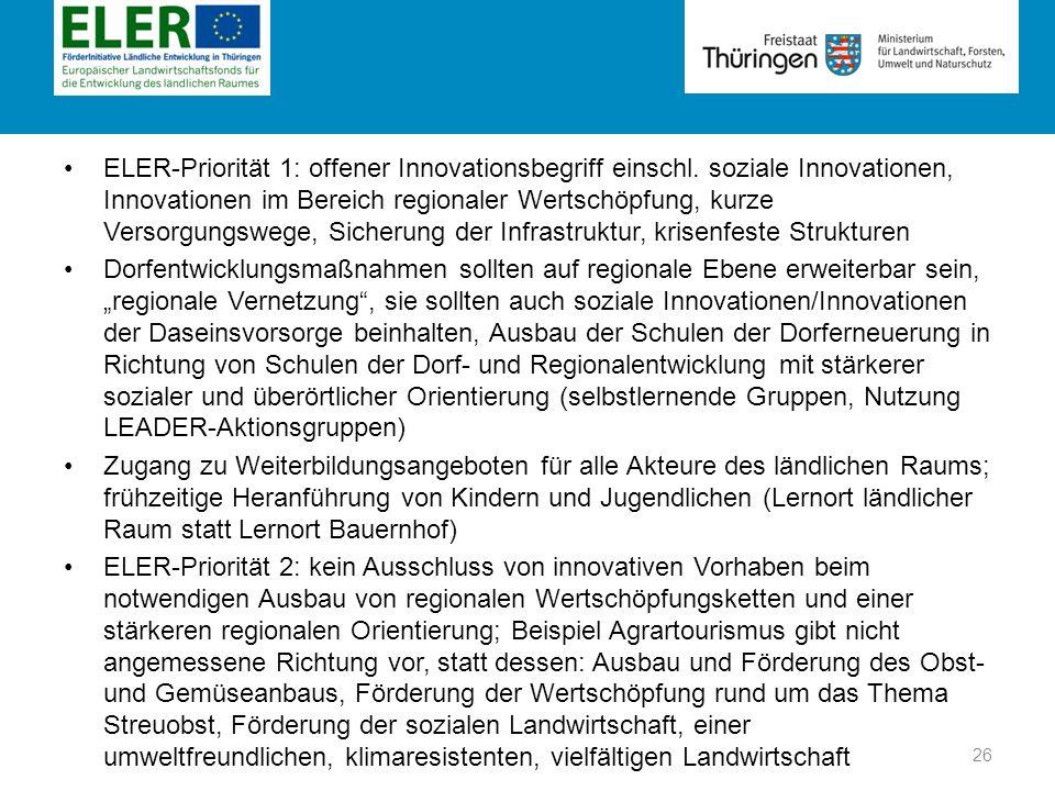 ELER-Priorität 1: offener Innovationsbegriff einschl