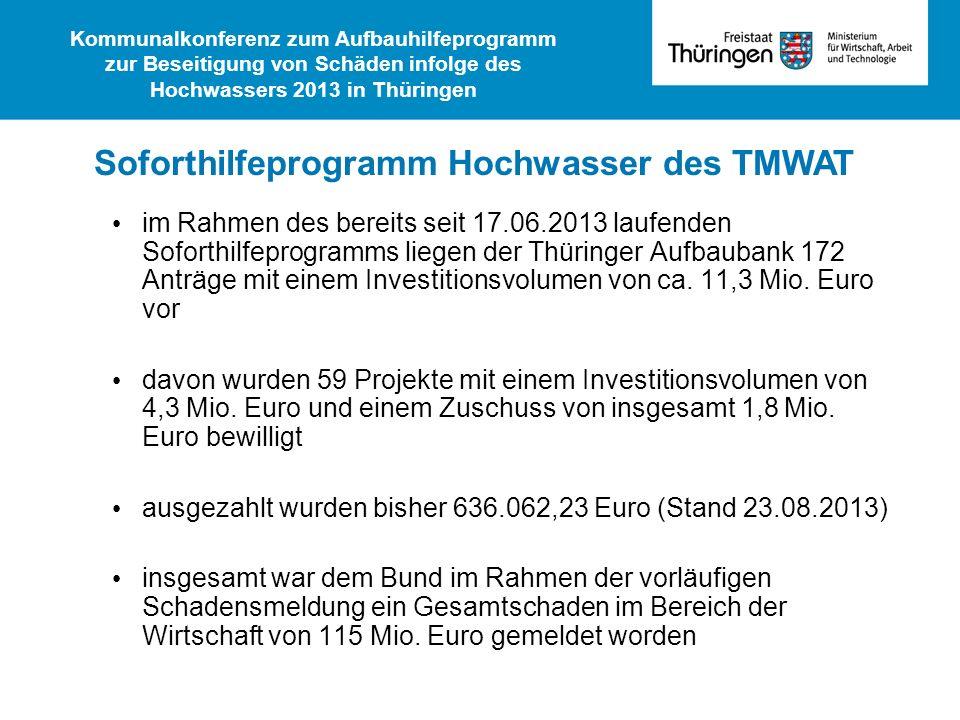 Soforthilfeprogramm Hochwasser des TMWAT