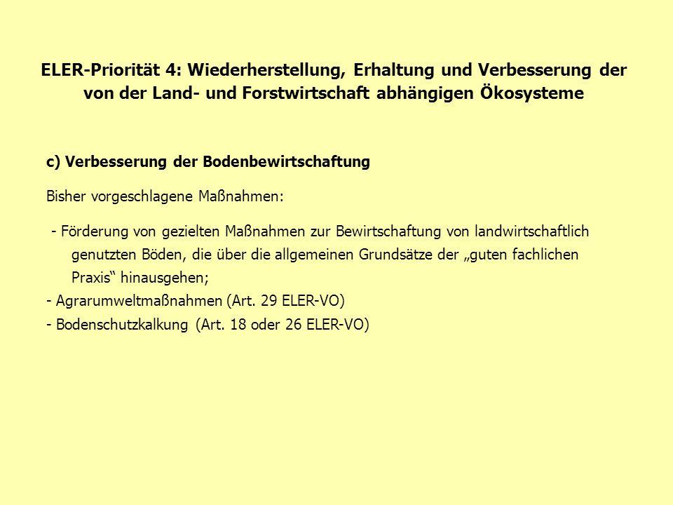 ELER-Priorität 4: Wiederherstellung, Erhaltung und Verbesserung der von der Land- und Forstwirtschaft abhängigen Ökosysteme