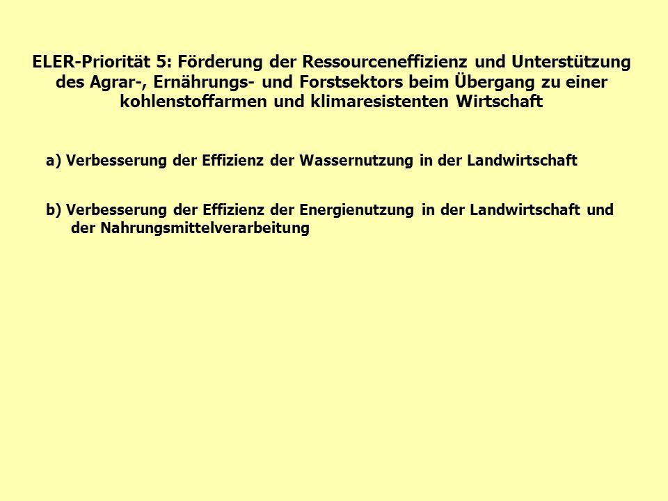 ELER-Priorität 5: Förderung der Ressourceneffizienz und Unterstützung des Agrar-, Ernährungs- und Forstsektors beim Übergang zu einer kohlenstoffarmen und klimaresistenten Wirtschaft