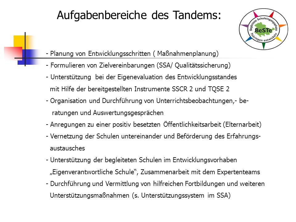 Aufgabenbereiche des Tandems: