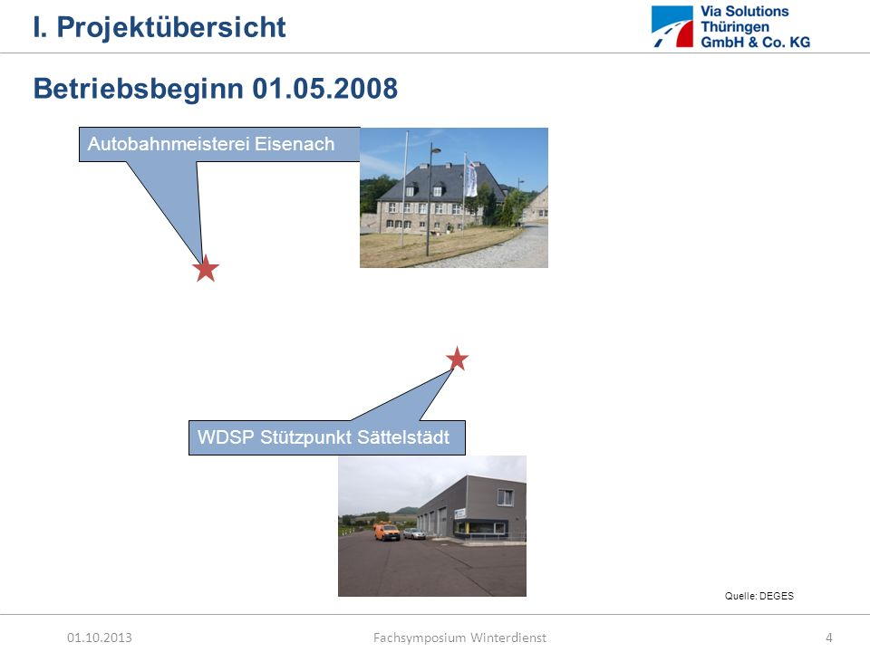 I. Projektübersicht Betriebsbeginn 01.05.2008