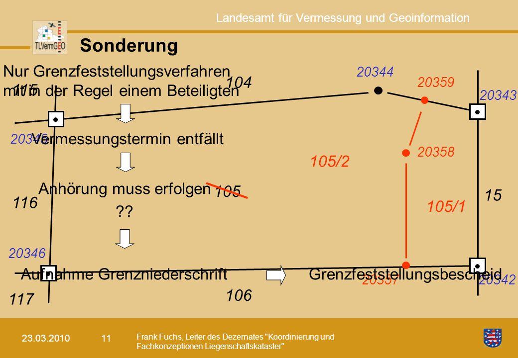 Sonderung Nur Grenzfeststellungsverfahren mit in der Regel einem Beteiligten. 20345. 20346. 20344.
