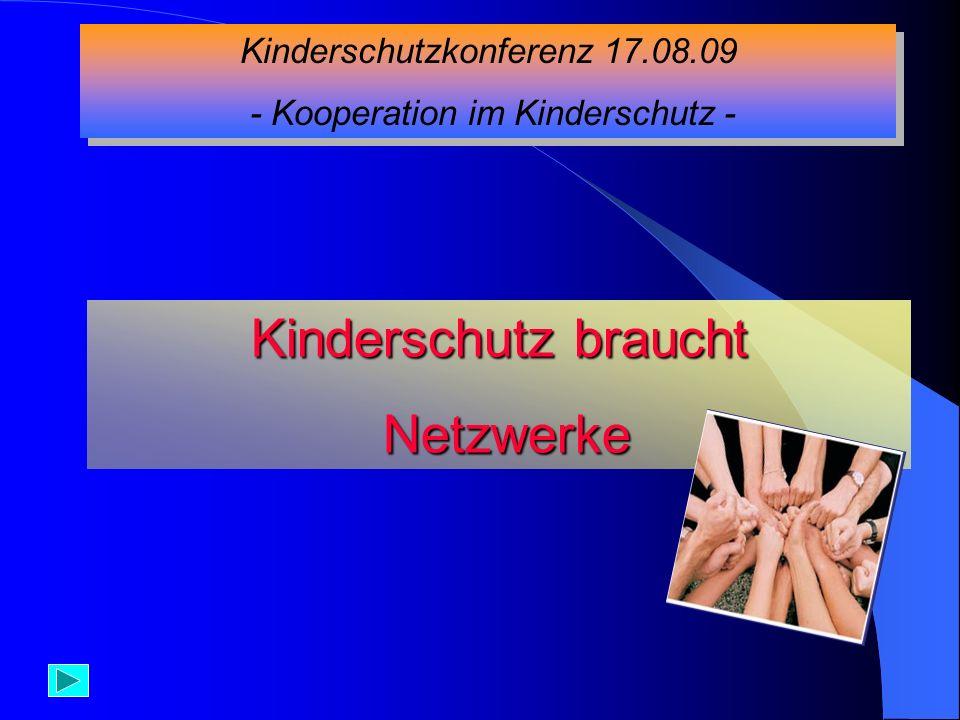 Kinderschutz braucht Netzwerke Kinderschutzkonferenz 17.08.09